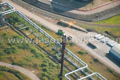 Aerial view of vent at gas plant
