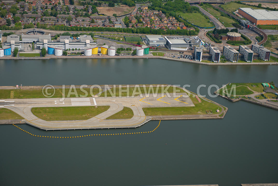 Aerial view of London City Airport runway in close-up, London