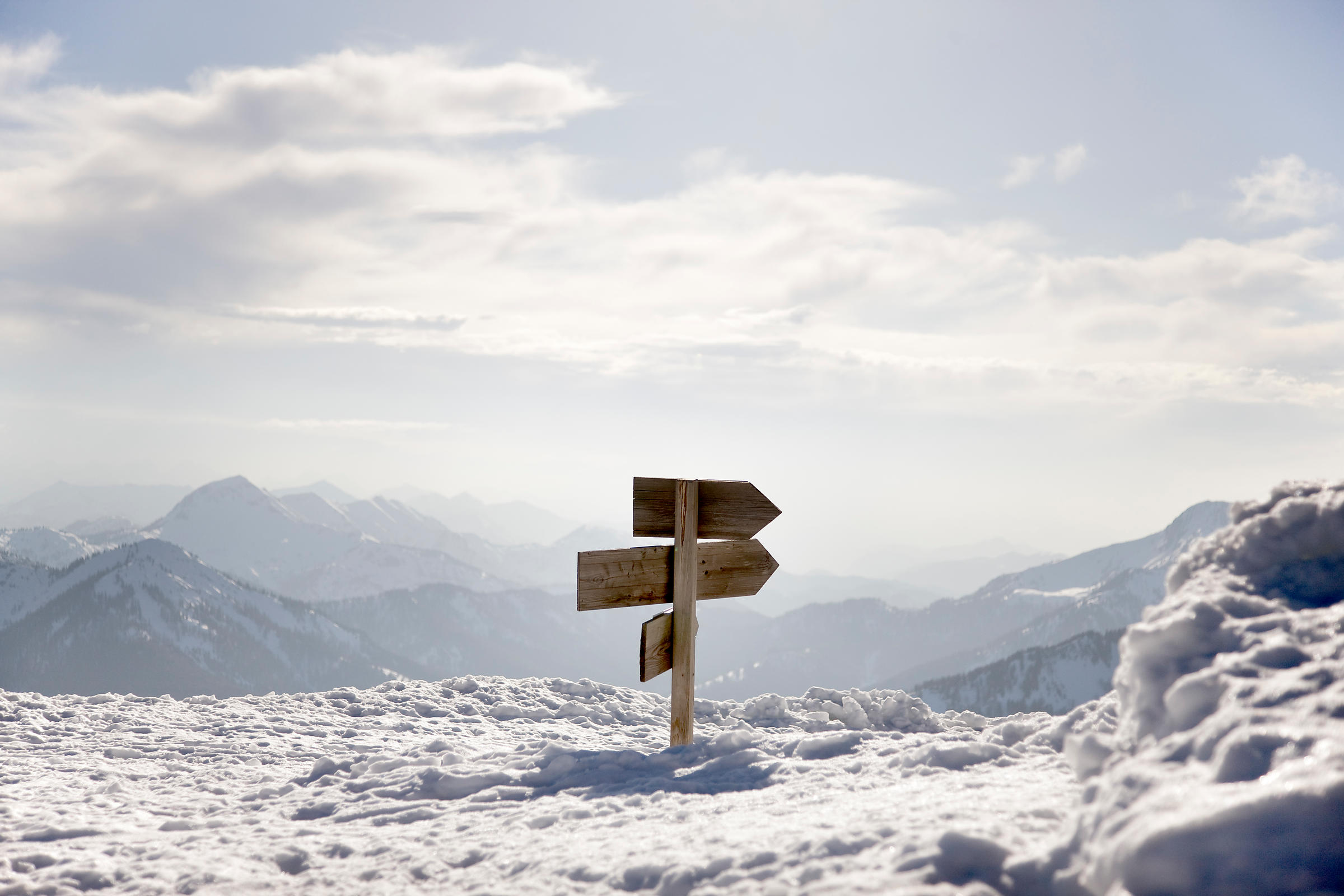 snow covered mountains, way sign