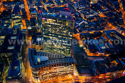 Aerial view of Broadgate Tower at night, London