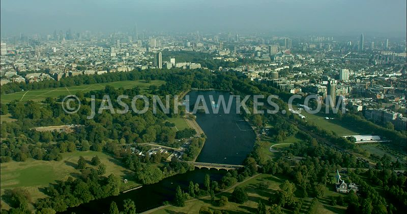London Aerial Footage of Hyde Park towards Green Park.