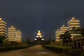 A night time view of the Buddha statue at the Fo Guang Shan Buddha Museum in Dashu District, Kaohsiung, Taiwan
