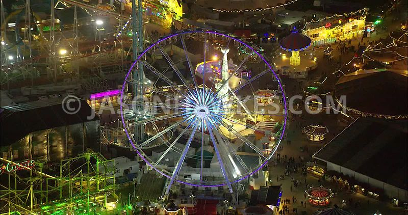 London Aerial Footage of Winter Wonderland.