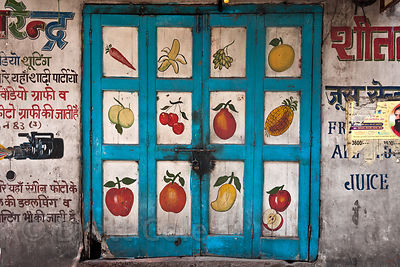 Hand painted doors in Jodhpur, Rajasthan, India