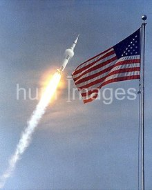 The American flag heralds the flight of Apollo 11, the first Lunar landing mission.