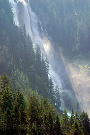 Wild, untamed Odegaard Falls. Nusatsum River Valley, Great Bear Rainforest, Nuxalk Territory, British Columbia