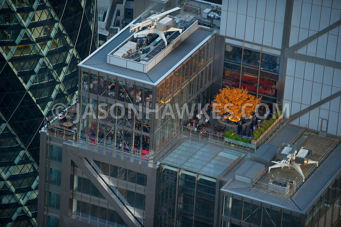 Aerial view of Heron Tower roof top, City of London, London