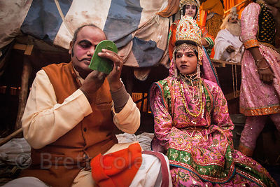Actors prepare for a theatrical performance at the 2013 Kumbh Mela, Allahabad, India.