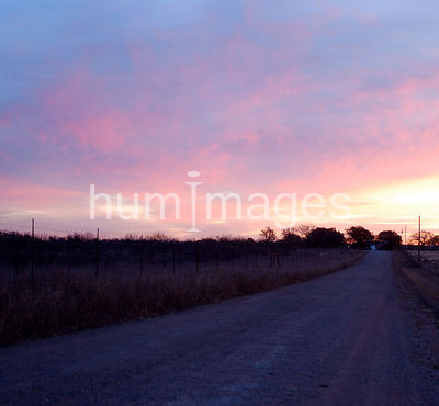 Gravel road before sunrise in Texas (pink and purple skies)