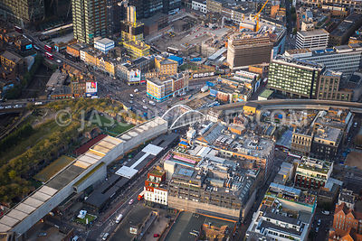 Aerial view of London, Shoreditch with railway line and redevelopment at Principal Place.