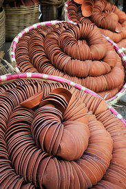 Ubiquitous small clay lanterns used for religious and everyday use, Birdopur, Varanasi, India