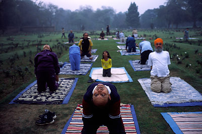 India - Delhi - People practicing yoga in Lodhi Gardens at dawn