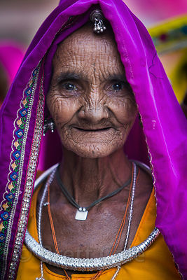 Elderly woman from a rural village near Pushkar, Rajasthan, India
