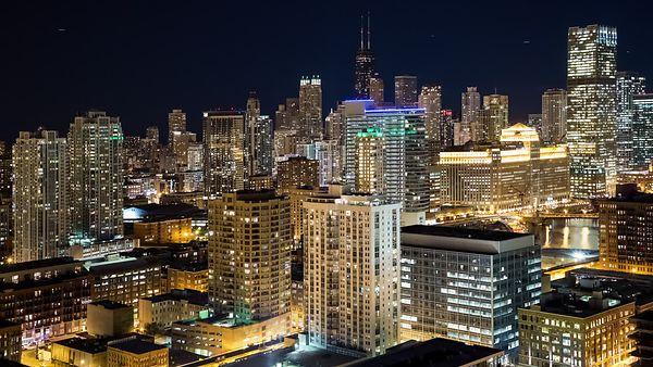 Bird's Eye: Wide Shot Of Subtle Changes In A Frenetic Chicago Skyline