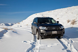 A Toyota SUV in the snow during winter at Big Horn Basin.