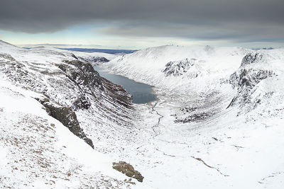 Aerial view of Loch Avon and surrounding mountains, Cairngorms National Park, Scotland, UK, February 2017.