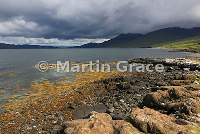 Loch na Keal under a threatening sky, looking towards Sacrisdale, Isle of Mull, Argyll & Bute, Scotland