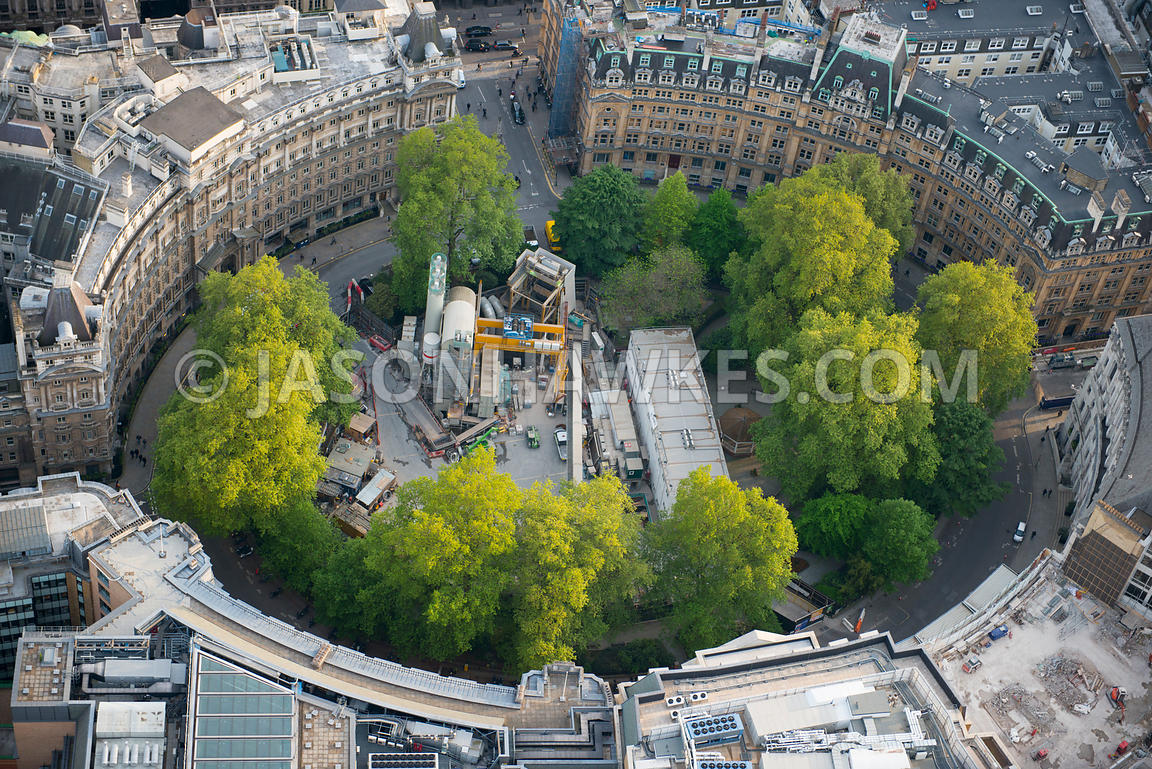 Aerial view of Crossrail construction at Finsbury Circus, London