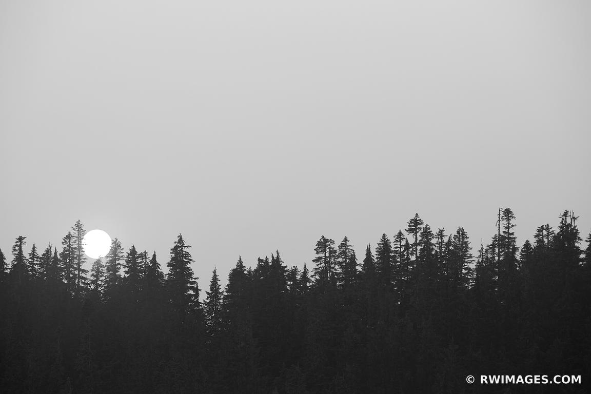 SUNSET MOUNT RAINIER NATIONAL PARK WASHINGTON BLACK AND WHITE