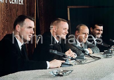 (26 Feb. 1966) --- Gemini-8 prime and backup crews during press conference. L to R are astronauts David R. Scott, Neil A. Arm...