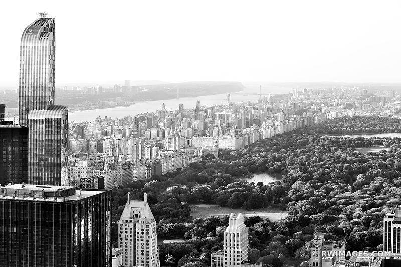 CENTRAL PARK MANHATTAN NEW YORK CITY AERIAL VIEW BLACK AND WHITE