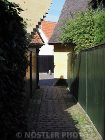 Narrow passways in the old town Dragør
