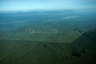 Aerial view of demarkation of Virunga NP park boundary and surrounding cultivation, Democratic Republic of Congo (formerly Za...