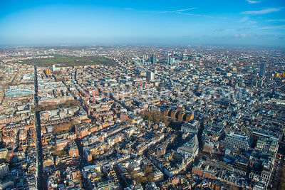 Aerial view of London, Regent Park from Piccadilly with Mayfair and Marylebone.
