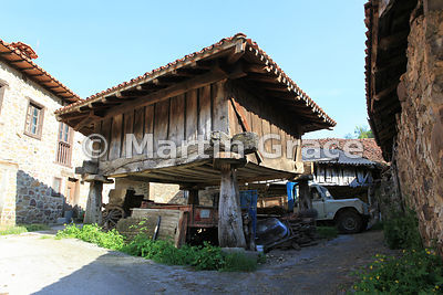 Traditional wooden hórreo (granary), Espinama, Cantabria, Spain