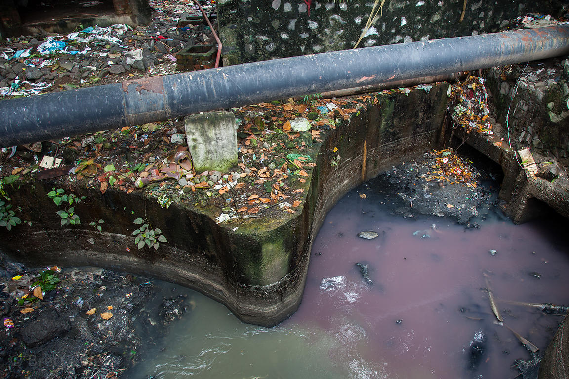 Foul water in the Dharavi slum, Mumbai, India. Sewage and chemicals are discharged into the water.