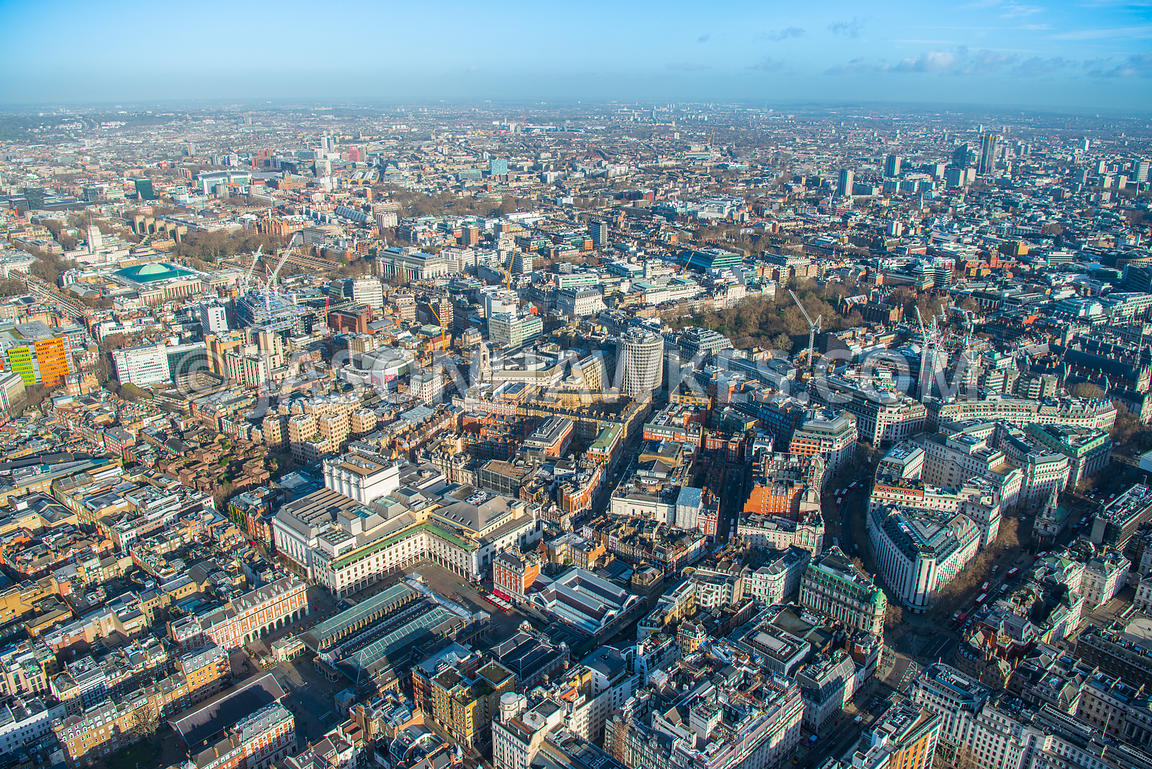 Aerial view of London, Covent Garden towards St Clement Danes with Lincoln's Inn Field.