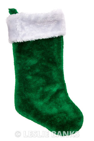Green plush Christmas stocking