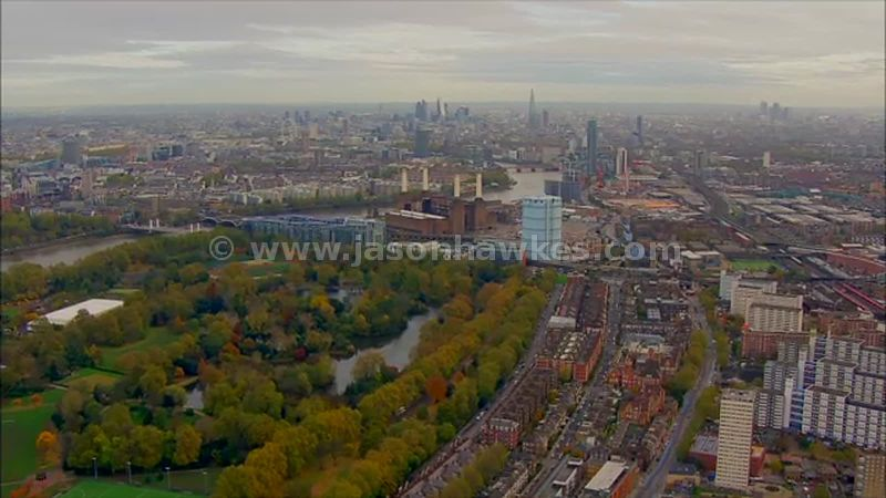 Aerial footage of Battersea Park and Nine Elms, London
