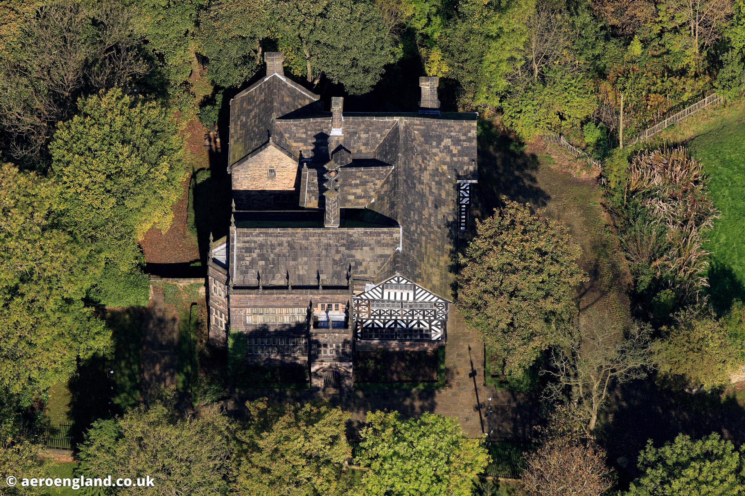 aerial photograph of the Hall i the wood , Bolton Lancashire  England UK