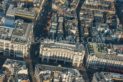 Aerial view of London, Great Marlborough Street with Foubert's Place, Soho.