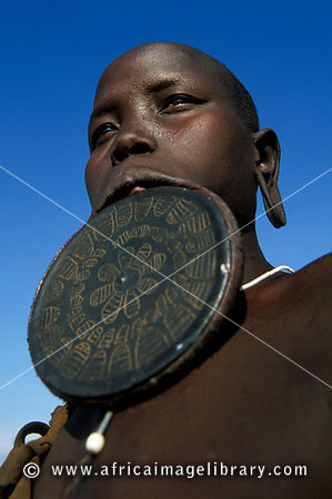 Mursi woman with a lip plate, Mago National Park, South Omo Valley, Ethiopia