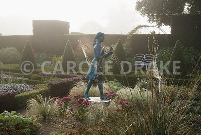 The Formal Garden, with knot garden made of box and berberis, with a statue of a girl holding the lamp of wisdom by Nathan Da...