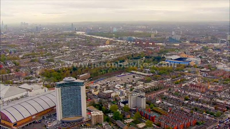 Aerial footage of Earl's Court and Brompton Cemetery, London