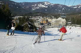 Whistler Mountain, Whistler Village in Background.Whistler, British Columbia, Canada