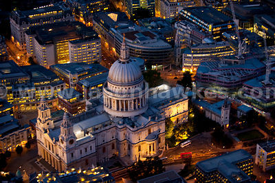 Aerial view over St Paul's Cathedral at night, London