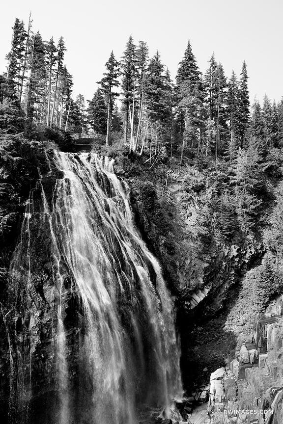 NARADA FALLS MOUNT RAINIER NATIONAL PARK WASHINGTON BLACK AND WHITE VERTICAL