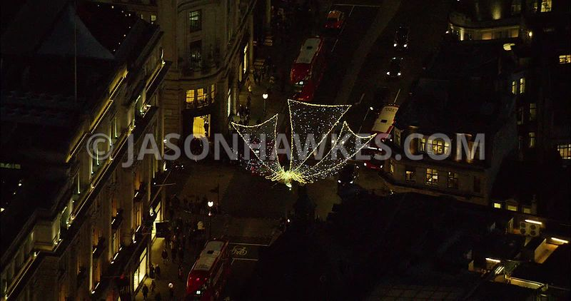London Aerial Footage of Regent Street at night.