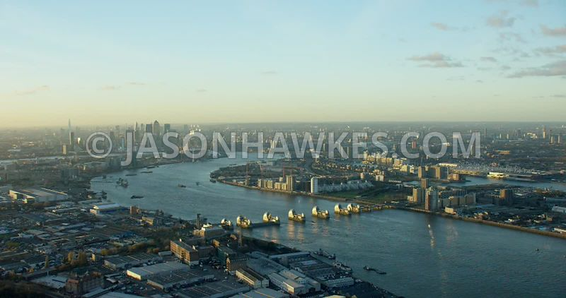 Aerial footage of the Thames Barrier