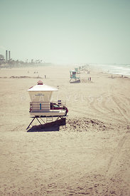 Huntington Beach Lifeguard Tower #1 Vintage Picture
