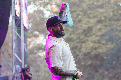 Fred Durst of Limp Bizkit holding panties thrown from crowd