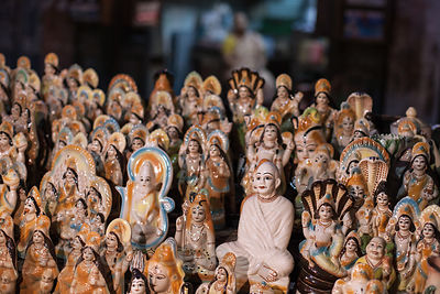 Idols for sale at a market in Kalighat, Kolkata, India.