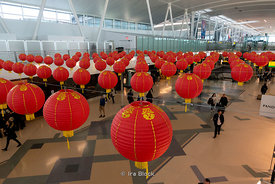 Lanterns at Terminal 4 John F Kennedy Airport in Queens, New York.