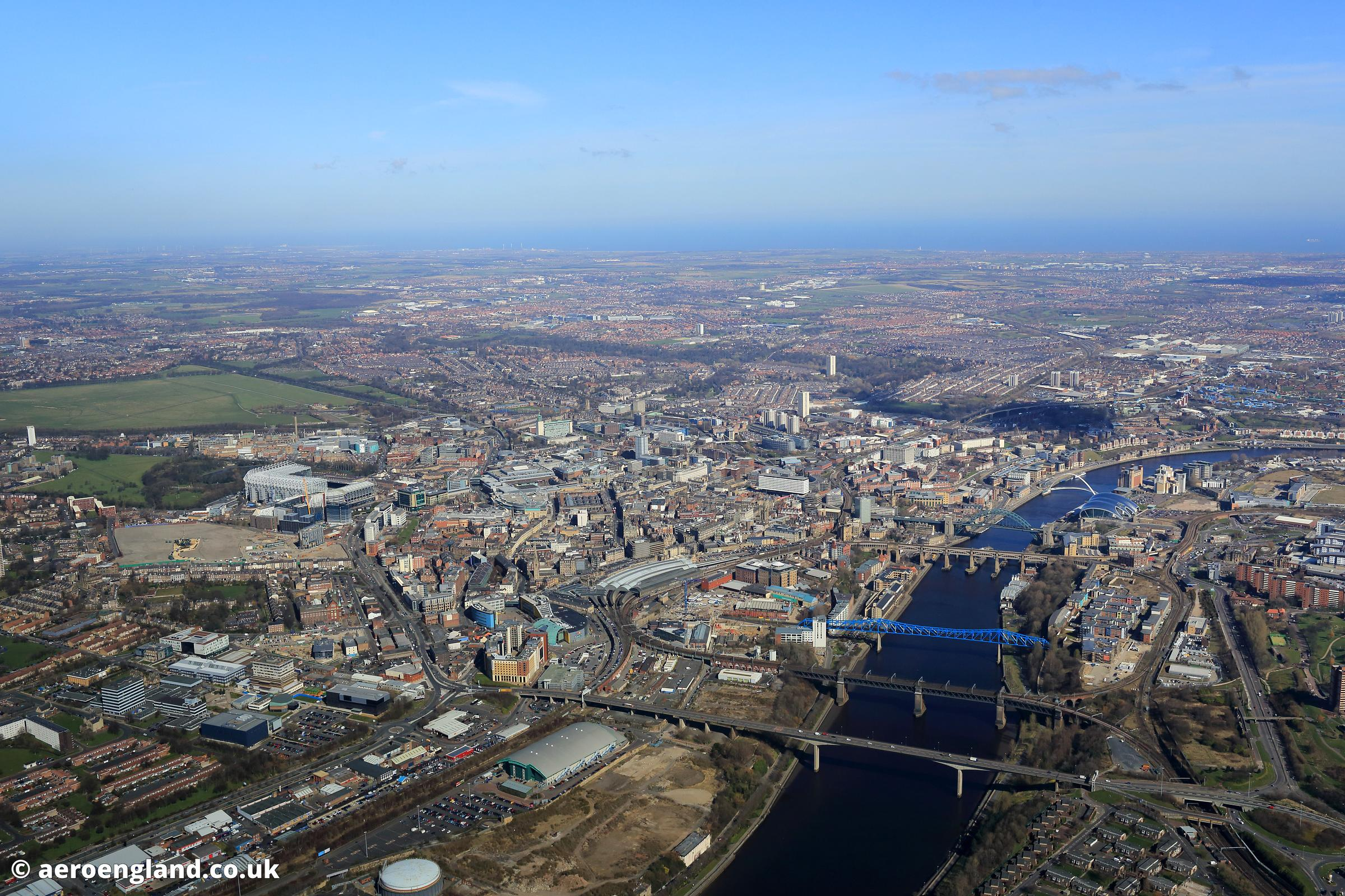 aerial photograph of  Newcastle-upon-Tyne UK
