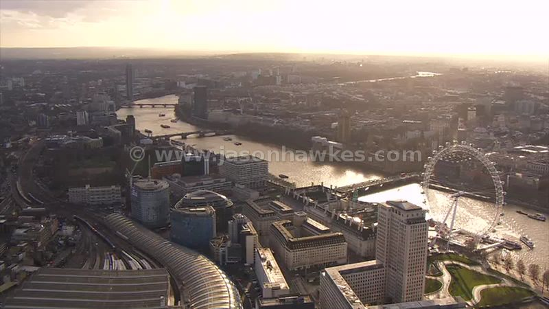 Aerial footage of Waterloo, London
