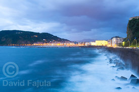 San Sebastián (Donostia) at dusk (Kursaal theatre in the center) after a cloudy sunset